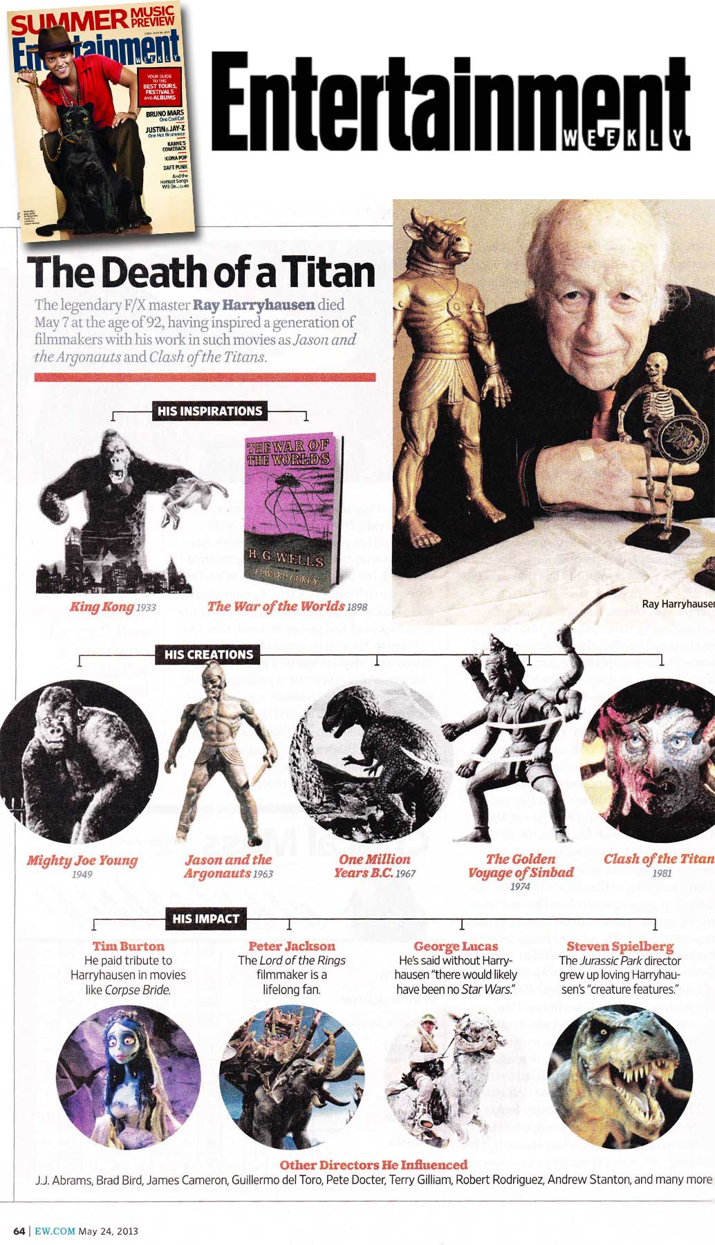 Entertainment Weekly Featured A Retrospective of Ray Harryhausen
